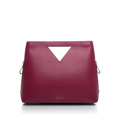 Audrey Trendy Leather Handbag in Cerise