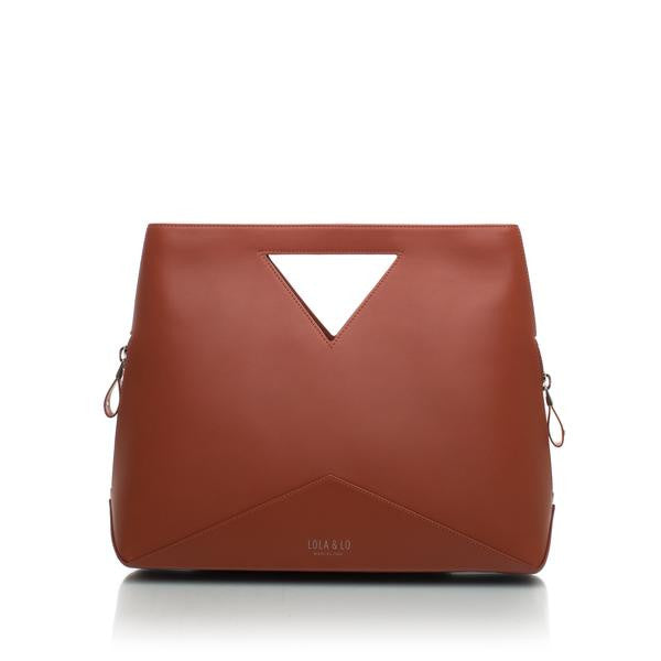 Audrey Trendy Leather Handbag in Red