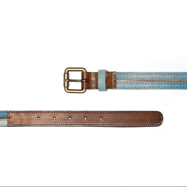 Access Belt in Camel Leather & Bleached Denim