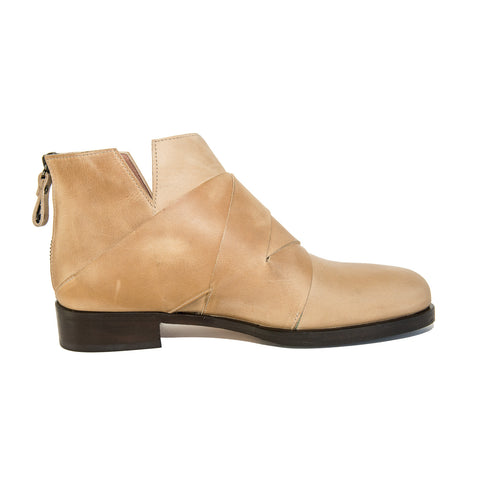 Quoque Leather Woven Ankle Boots in Beige - GL Shops