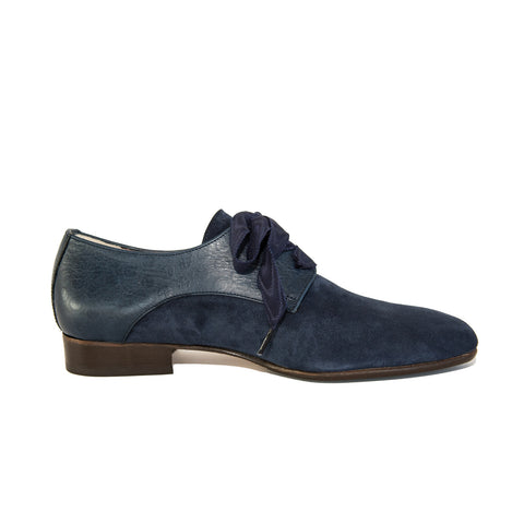 Quoque Blue Suede and Leather Blucher Style Lace Ups - GL Shops