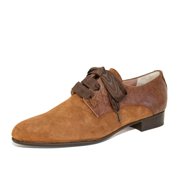 Quoque Brown Suede and Leather Blucher Style Lace Ups - GL Shops