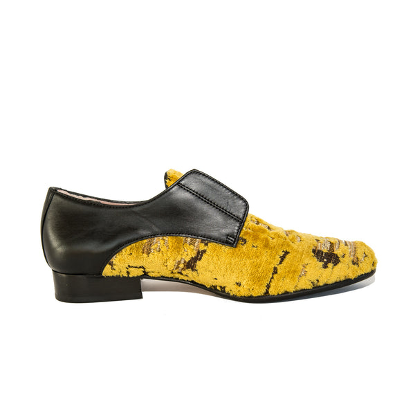 Quoque Embossed Velvet Loafers in Yellow and Black - GL Shops