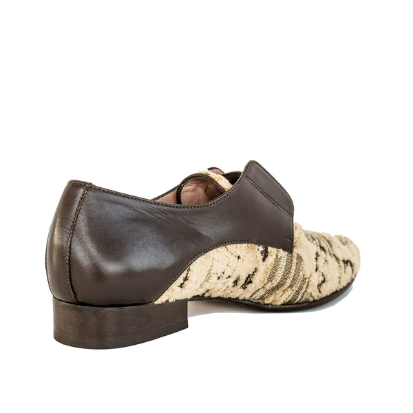 Quoque Embossed Velvet Loafers in Sand and Chocolate - GL Shops