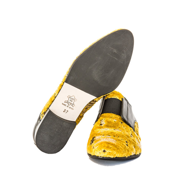 Velvet Loafers in Yellow and Black