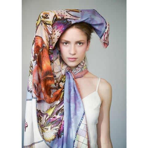 Manue Silk-Modal Blend Foulard with Never Full-Never Fear Print - GL Shops