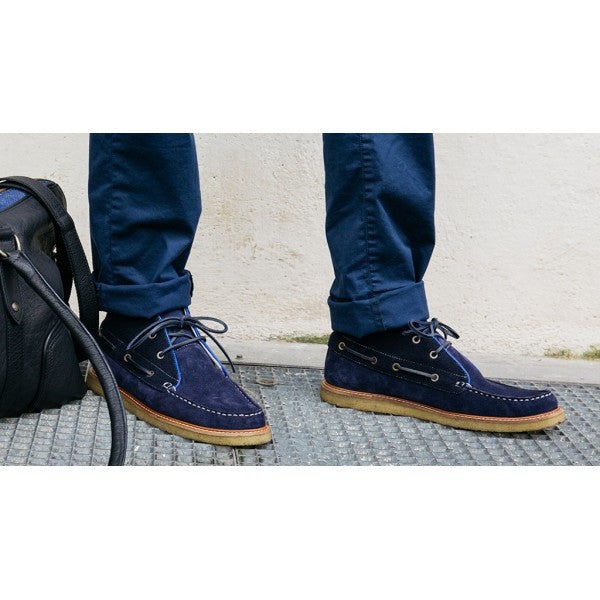 High Top Boat Shoes in Sea Blue