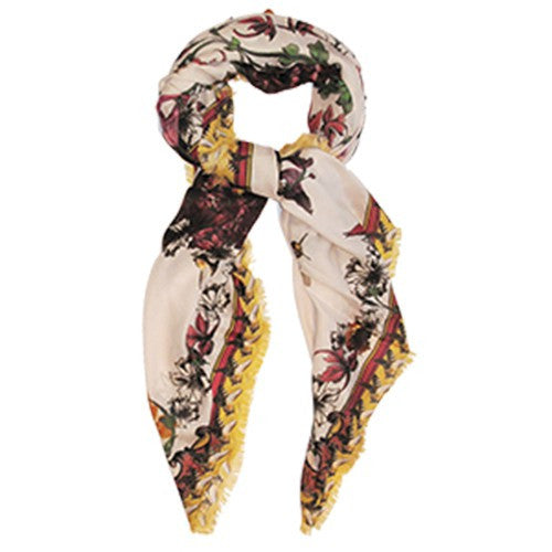 Manue Cashmere-Modal Blend Foulard with Yellow Bees Print - GL Shops