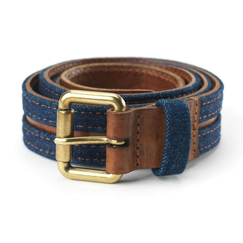 Access Belt in Camel Leather & Denim
