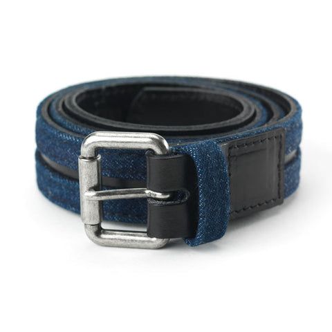 Access Belt in Black Leather & Denim