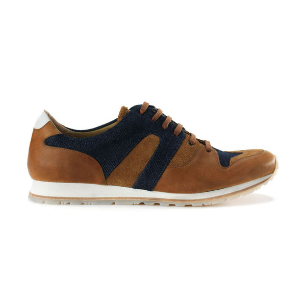 Moving Camel Leather & Denim Sneakers