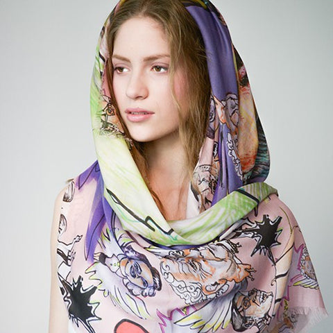 Manue Family Headache Modal Foulard with Colorful Family Headache Print - GL Shops