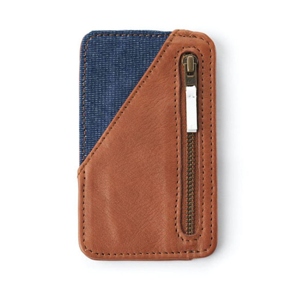 Card Holder in Camel - Raw Denim