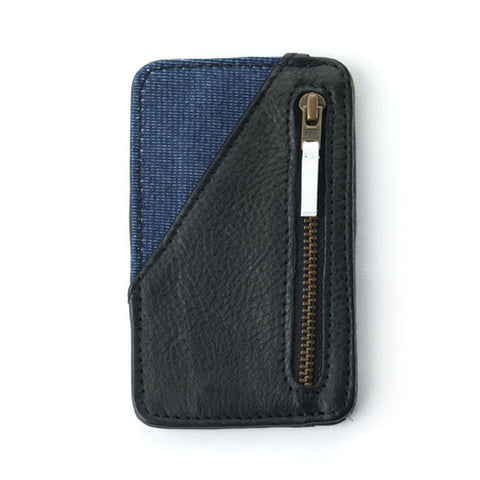 Card Holder in Black - Raw Denim