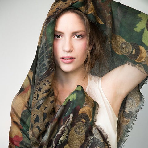 Manue Cashmere-Modal Blend Foulard with Green Golden Princess Print - GL Shops