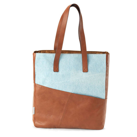 Easy Tote in Camel & Bleached Denim