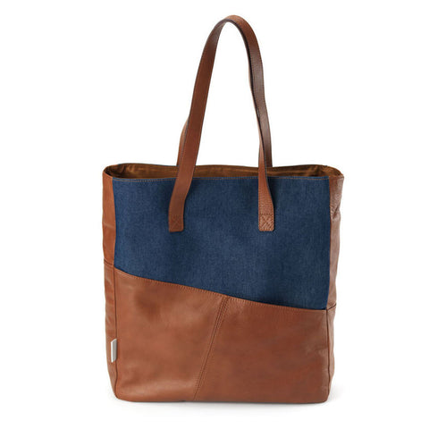 Easy Tote in Camel & Denim