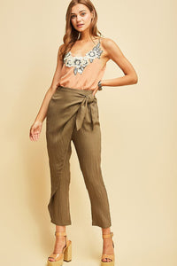 Olive Green Straight Leg Wrap Pants