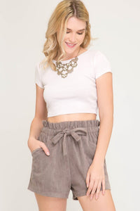 Taupe Faux Suede Paperbag Style Shorts