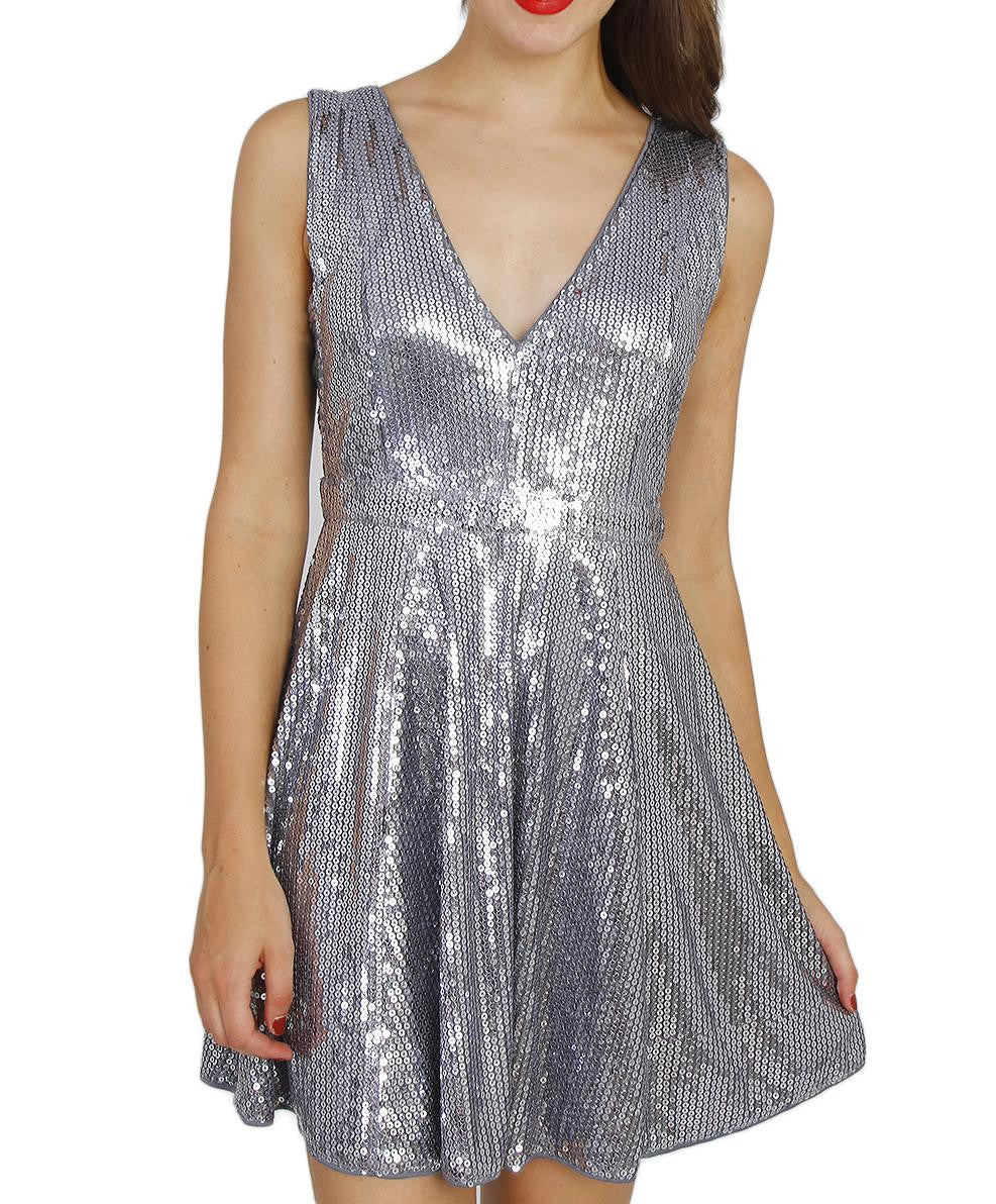 Full Silver Sequin Flare Dress