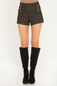 Olive Green Stripe Suede Shorts