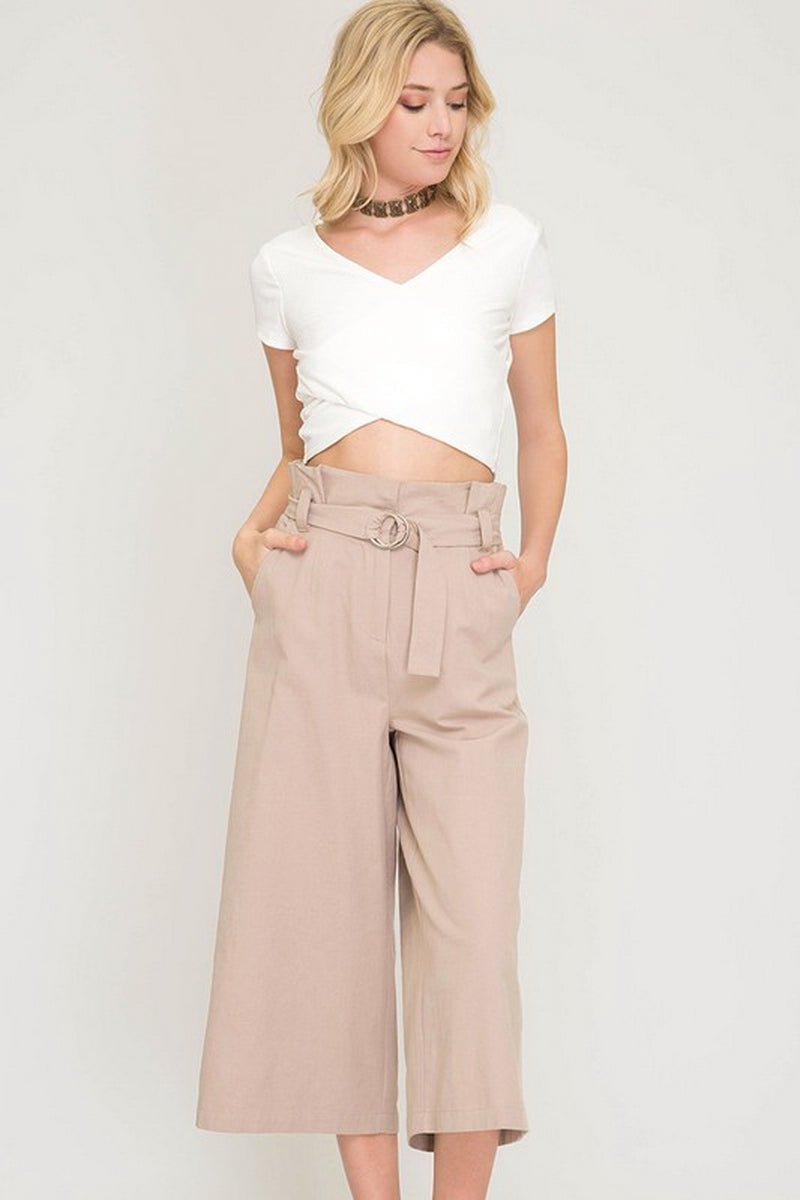 Taupe Paperbag Culottes Woven Pants With Belt