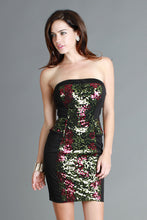 Colorful Metallic Rose Sequin Black Cocktail Dress