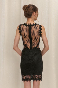 Black Mesh & Lace Cocktail Dress