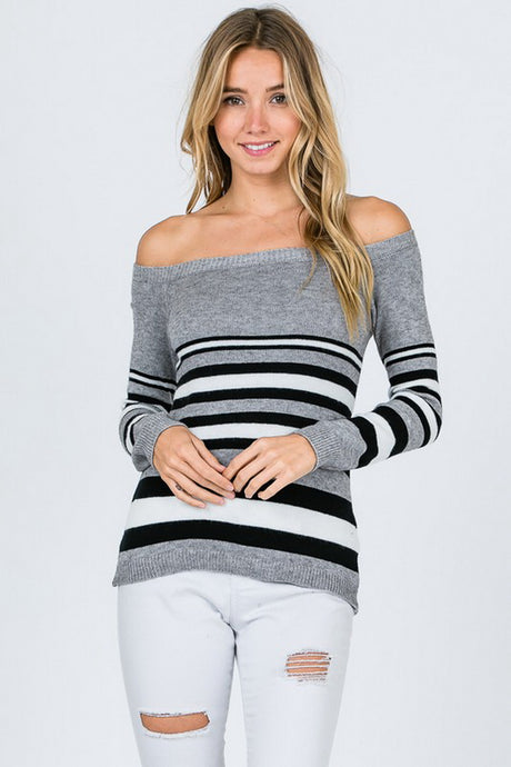 Grey Off Shoulder Stripe Sweater Top