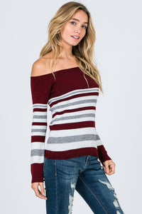 Burgundy Off Shoulder Stripe Sweater Top