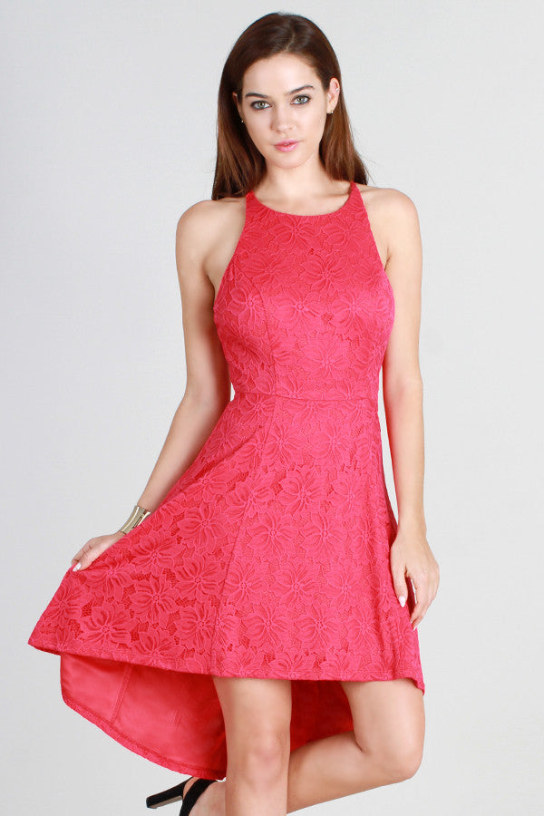 Criss-Cross Lace High Low Dress