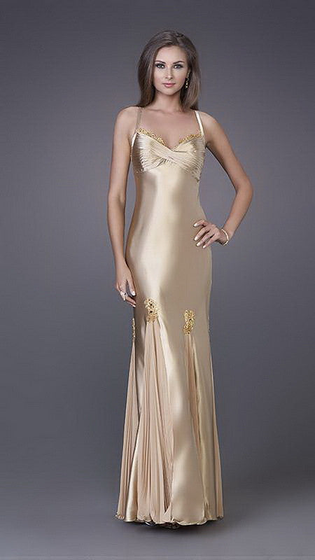 Gold Lace Detail Along Bust And Skirt Satin Long Dress
