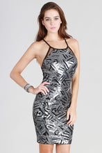 Sequin Crisscross Back Halter Dress