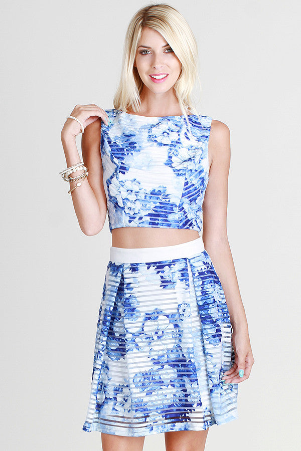 Floral Shadow Stripe 2-Piece Dress