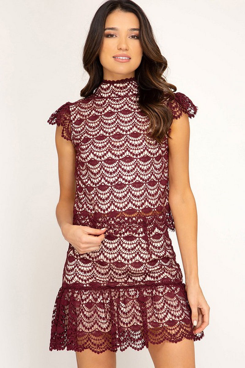 Burgundy Crochet Lace Mini Flare Skirt