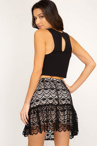 Black Crochet Lace Mini Flare Skirt