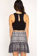 Grey Crochet Lace Mini Flare Skirt