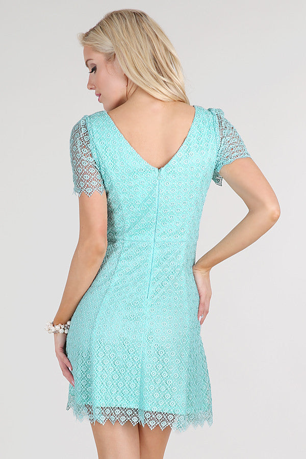 Mint Short Sleeve Fit & Flare Lace Dress