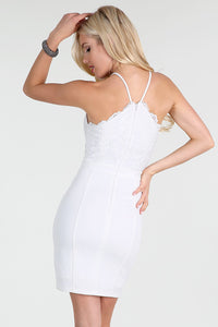 White V-Neck Beaded Embroidery Lace 2-Fer Dress