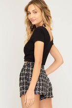 Black Sequin Thread Detail Tweed Shorts