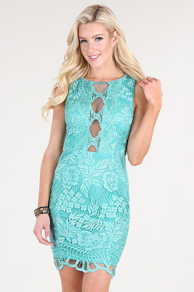Mint Center Meshed Openings Floral Lace Dress