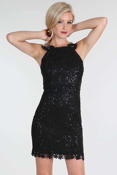 Black Sequins Butterfly Lace Dress