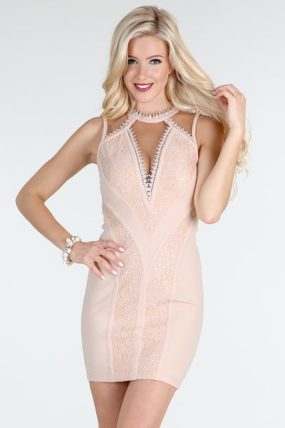 Pink Sequin Lace And Sheer Mesh Insert Dress
