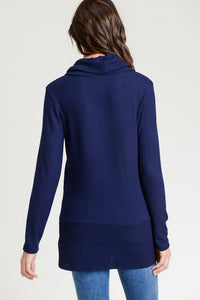Navy Solid Tunic Long Sleeve Cowl Neck Top