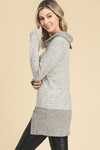 Taupe Solid Tunic Long Sleeve Cowl Neck Top