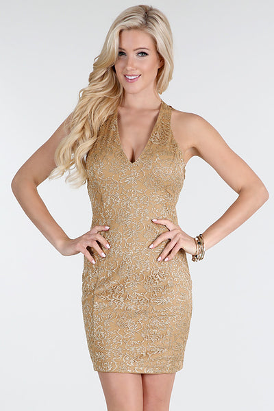 Gold Metallic Embroidery Lace Trim Back Dress