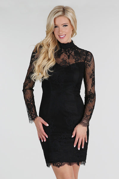 Black Beaded High Neck Long Sleeve Sheer Lace Dress