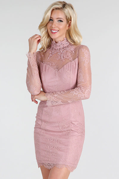 Pink Beaded High Neck Long Sleeve Sheer Lace Dress