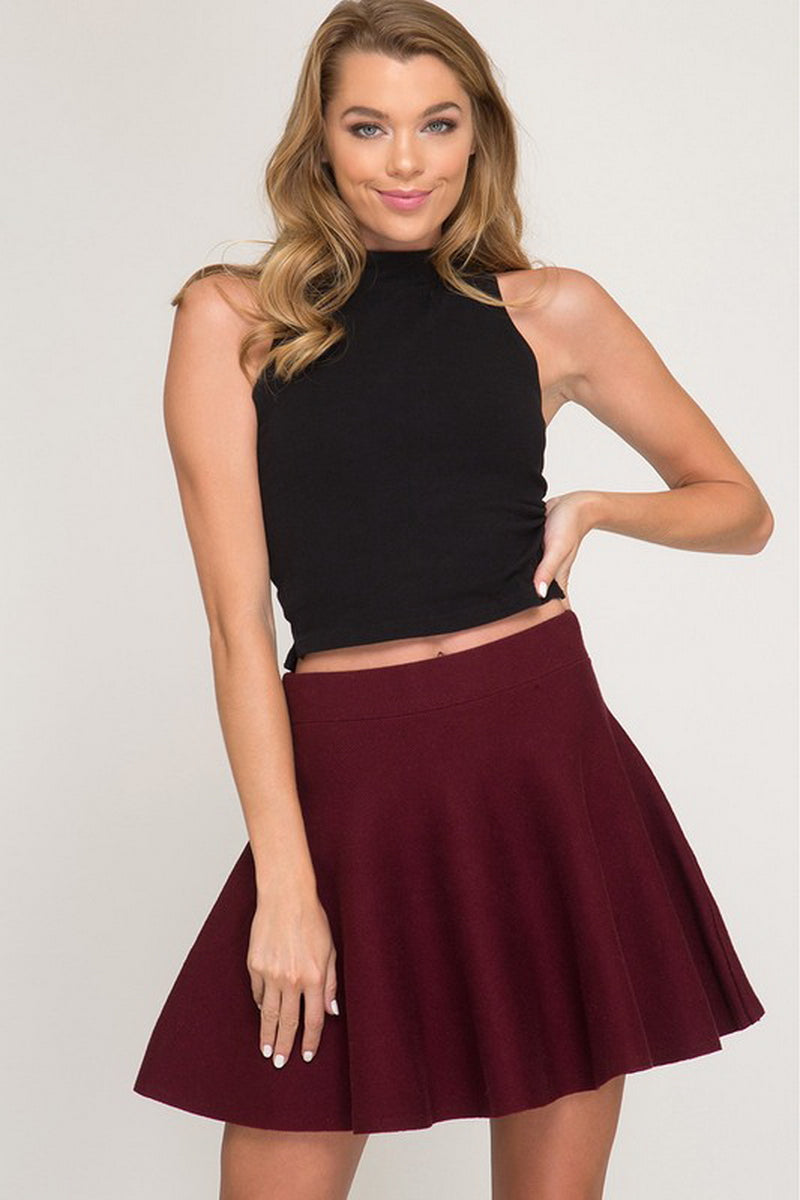 Burgundy Sweater Flare Skirt
