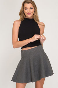 Grey Sweater Flare Skirt